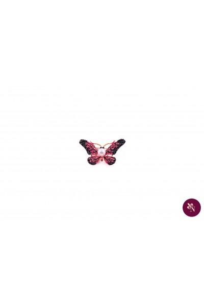 Broșă metal fluture cu perlă