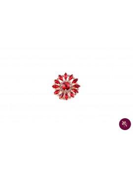 Broșă metal cu strasuri roșii