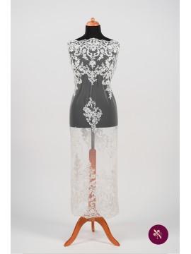 Dantelă mireasă ivoire cu paiete și perluțe