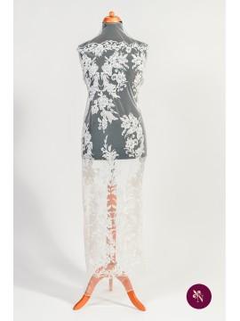 Dantelă mireasă ivoire cu micropaiete