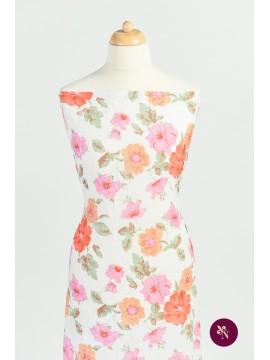 Lycra gofrat flori roz
