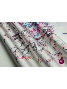 Satin cu flori și păsări imprimat